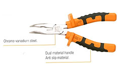 MO-72142 Bent snipe nose pliers, dual material anti slip handle